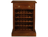 LivingStyles Boku Mahogany Timber Slim Wine Rack with Drawer, Mahogany