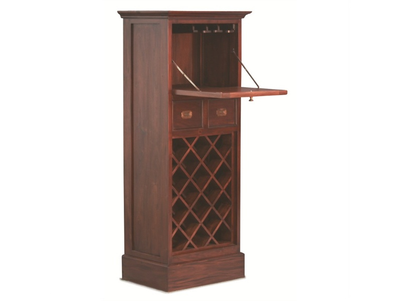18-Bottle + 2 Drawer + Fold Out Cabinet Solid Mahogany Wine Rack - Mahogany