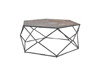LivingStyles Alva Metal Wire Coffee Table with Wooden Top, 92cm