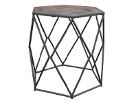 LivingStyles Alva Metal Wire Side Table with Wooden Top