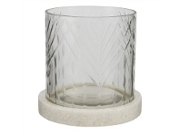 LivingStyles Rosamond II Marble Base Wire Cut Glass Hurricane Lamp, Small