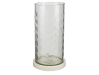 LivingStyles Rosamond I Marble Base Wire Cut Glass Hurricane Lamp, Large