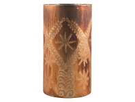 LivingStyles Mateo Etched Glass Candle Holder, Large, Rust