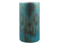 LivingStyles Mateo Etched Glass Candle Holder, Large, Teal