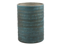 LivingStyles Laurel Etched Glass Candle Holder with Paraffin Wax, Small, Teal