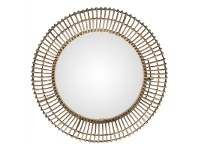 LivingStyles Pluto Rattan Frame 80cm Round Wall Mirror
