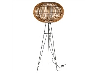 LivingStyles Darla Rattan Floor Lamp with Iron Stand - Natural/Black