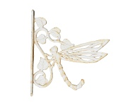 LivingStyles Dragonfly Iron Side Mount Wall Hanger, Antique White