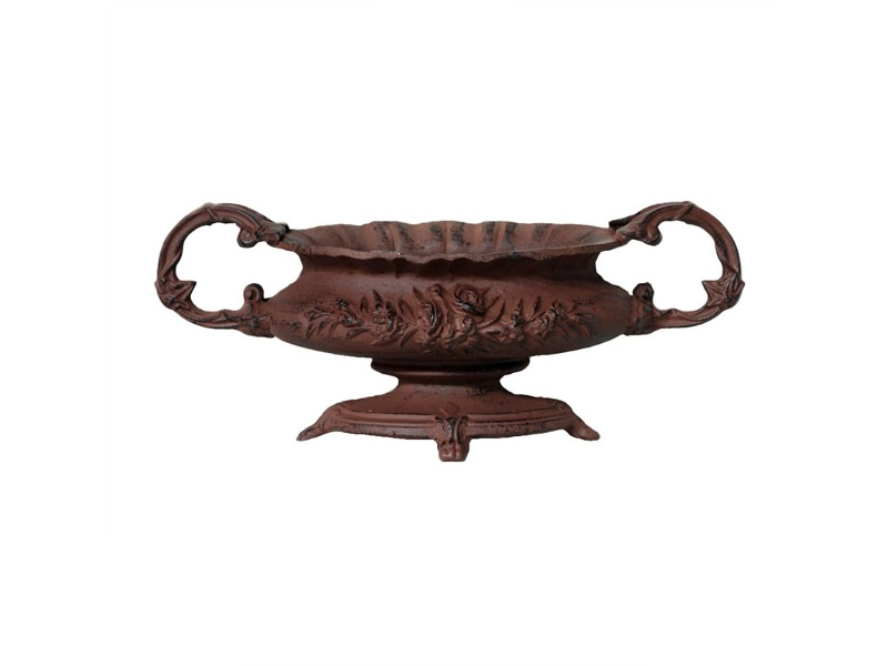 Antique Rose Small Cast Iron Decor Urn Rust Livingstyles