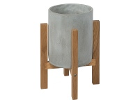 LivingStyles Royale Concrete Round Planter on Oak Stand, Small