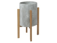 LivingStyles Royale Concrete Round Planter on Oak Stand, Medium