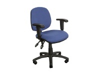 LivingStyles Task Fabric Office Chair with Arms, Blue