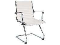 LivingStyles Cogra PU Leather Cantilever Client Chair, White