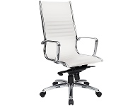 LivingStyles Cogra PU Leather High Back Executive Chair, White