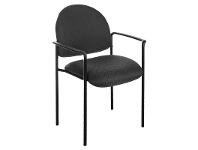 LivingStyles Felman Stackable Fabirc Visitor Armchair, Black