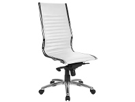 LivingStyles Nordic PU Leather High Back Executive Chair, White