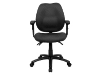 LivingStyles Sabina Fabric Office Chair with Arms, Black