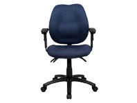 LivingStyles Sabina Fabric Office Chair with Arms, Blue