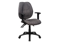 LivingStyles Sabina Fabric Office Chair with Arms, Grey