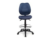 LivingStyles Sabina Fabric Adjustable Office Drafting Stool, Blue