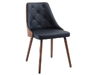 LivingStyles Yvonne Commercial Grade PU Leather & Timber Dining Chair, Walnut / Black