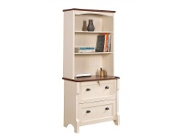 LivingStyles Nepean Antique White Lateral File Cabinet with Hutch