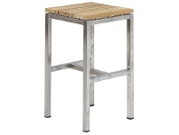 LivingStyles Highline Solid Teak Timber and Stainless Steel 75cm Bar Stool