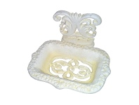 LivingStyles Allison Cast Iron Soap Holder, Antique White
