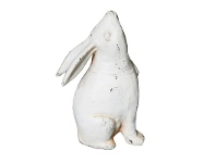 LivingStyles Cast Iron Head Up Rabbit Figurine Garden Decor, Antique White