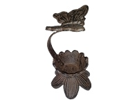 LivingStyles Cast Iron Butterfly Candle Holder, Antique Rust