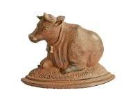 LivingStyles Cow on Pasture Cast Iron Door Stopper - Antique Rust