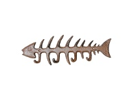 LivingStyles Fish Bone Cast Iron 4 Hook Wall Hanger - Antique Rust