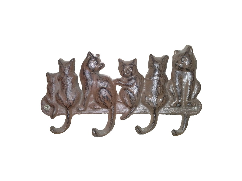 Sitting Cats Cast Iron Wall Hook, Antique Rust