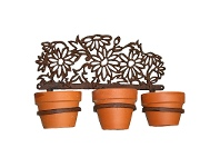 LivingStyles Daisies Cast Iron 3 Ring Wall Pot Holder - Antique Rust