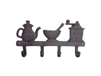Kettle Bowl Grinders Cast Iron 4 Hook Wall Hanger - Antique Rust