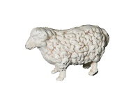 LivingStyles Cast Iron Sheep Figurine Garden Decor, Antique White