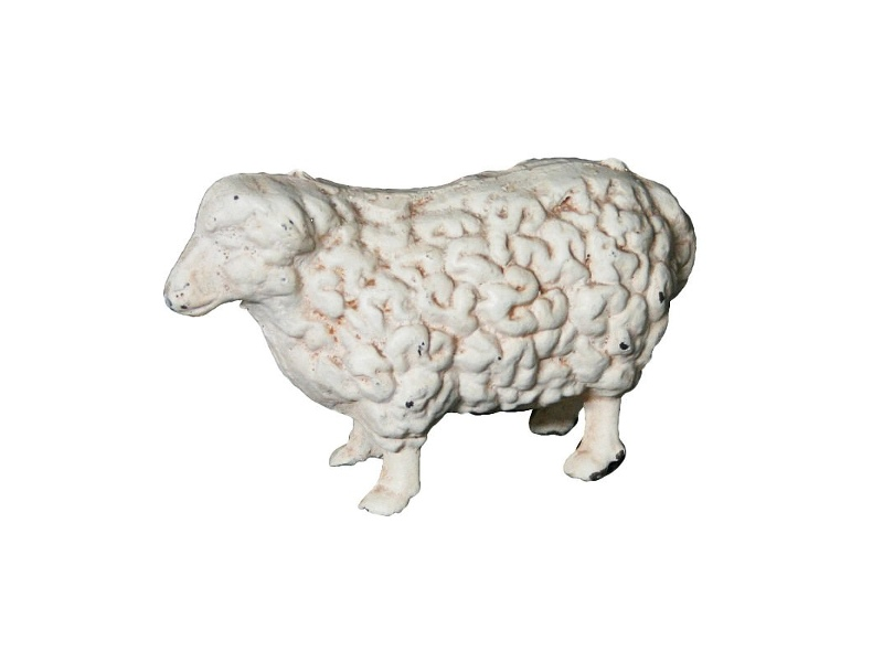Cast Iron Sheep Figurine Garden Decor, Antique White