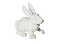 LivingStyles Cast Iron Standing Rabbit Figurine Garden Decor, Antique White