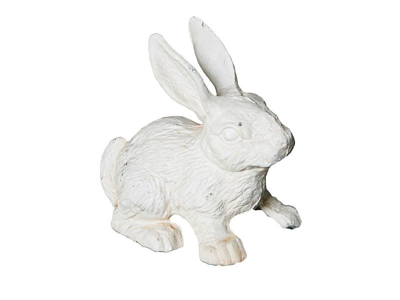 Cast Iron Standing Rabbit Figurine Garden Decor, Antique White