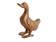 LivingStyles Cast Iron Head Up Duck Figurine Garden Decor, Antique Rust