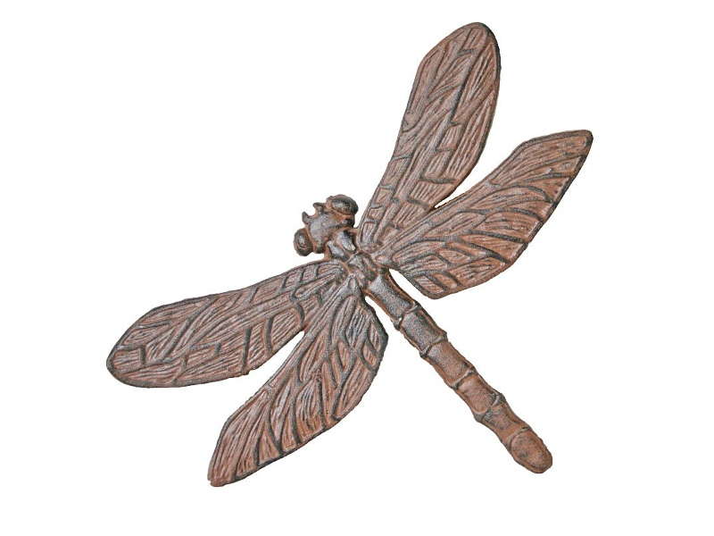 Dragonfly Cast Iron Stepping Stone - Antique Rust