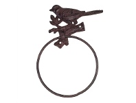 LivingStyles Tweet Cast Iron Towel Ring - Antique Rust