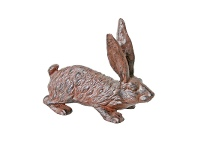 LivingStyles Cast Iron Hare Figurine Garden Decor - Antique Rust