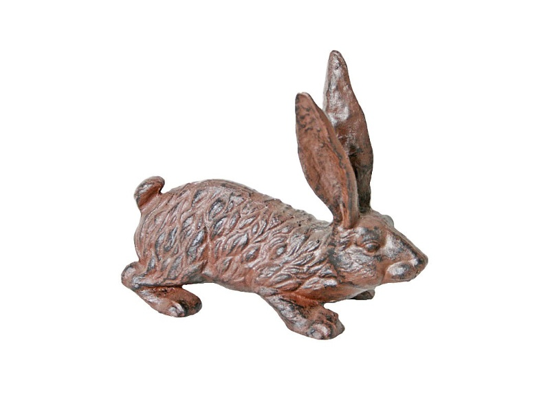 Cast Iron Hare Figurine Garden Decor - Antique Rust