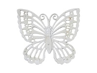 LivingStyles Butterfly Cast Iron Wall Decor, Antique White