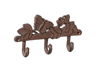LivingStyles Butterfly & Ivy Cast Iron Wall Hook, Antique Rust