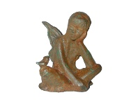 LivingStyles Cast Iron Fairy Zena Figurine Garden Decor, Antique Rust