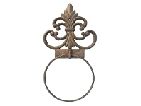 LivingStyles Spire Cast Iron Towel Ring - Antique Rust