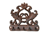 LivingStyles Formal Cast Iron 5 Hook Key Hanger - Antique Rust