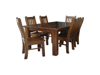 LivingStyles Spring New Zealand Pine Timber 7 Piece Dining Table Set, 180cm